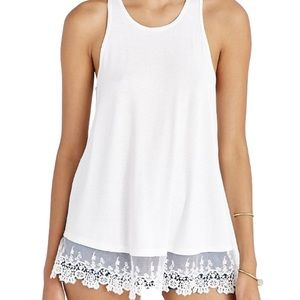 Kimchi Blue White Tank Top With Lace Trim